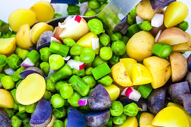 Potato, Spring Vegetable, and Bacon Salad with Lemon Vinaigrette; © 2019 Jane Bonacci, The Heritage Cook