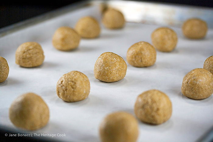 Chilled filling ready for dipping; Almond Coconut Truffles © 2016 Jane Bonacci, The Heritage Cook