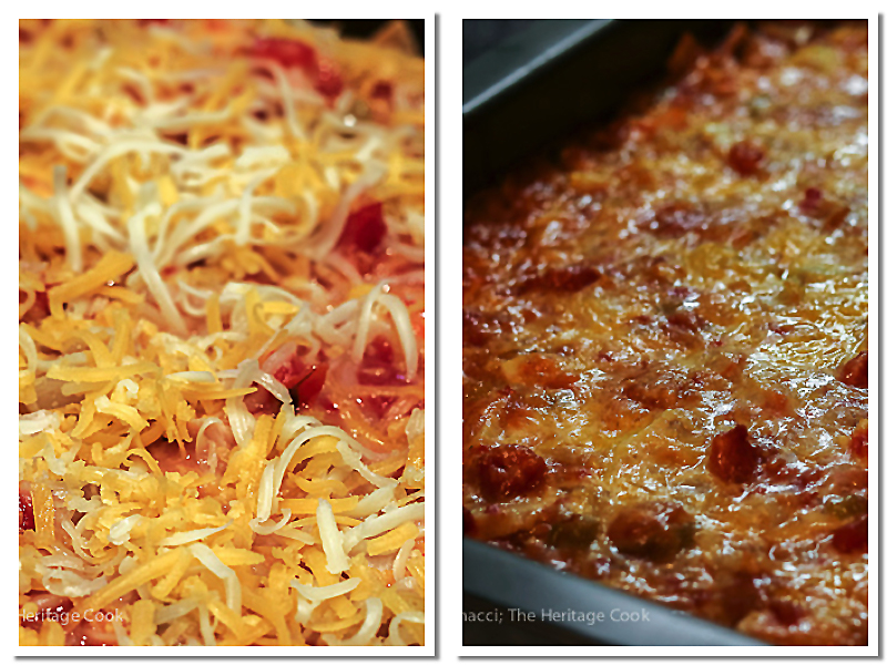 Before and after baking; hot from the oven! Gluten Free Chicken Enchilada Casserole; 2016 Jane Bonacci, The Heritage Cook