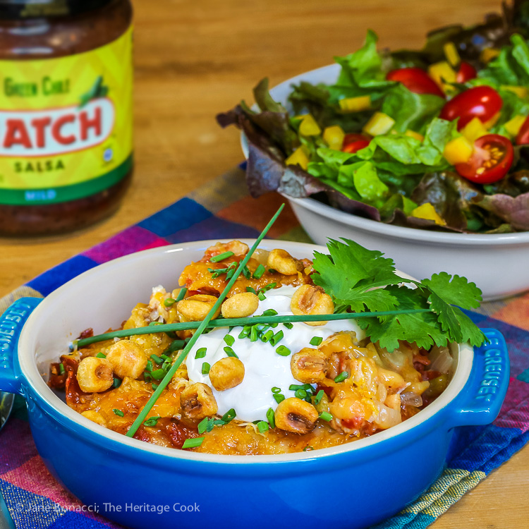 Serve with Salad and Salsa for a complete meal; Gluten Free Chicken Enchilada Casserole; 2016 Jane Bonacci, The Heritage Cook