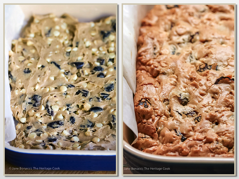 Before and after baking; Gluten Free White Chocolate and Cherry Blondies; Jane Bonacci, The Heritage Cook