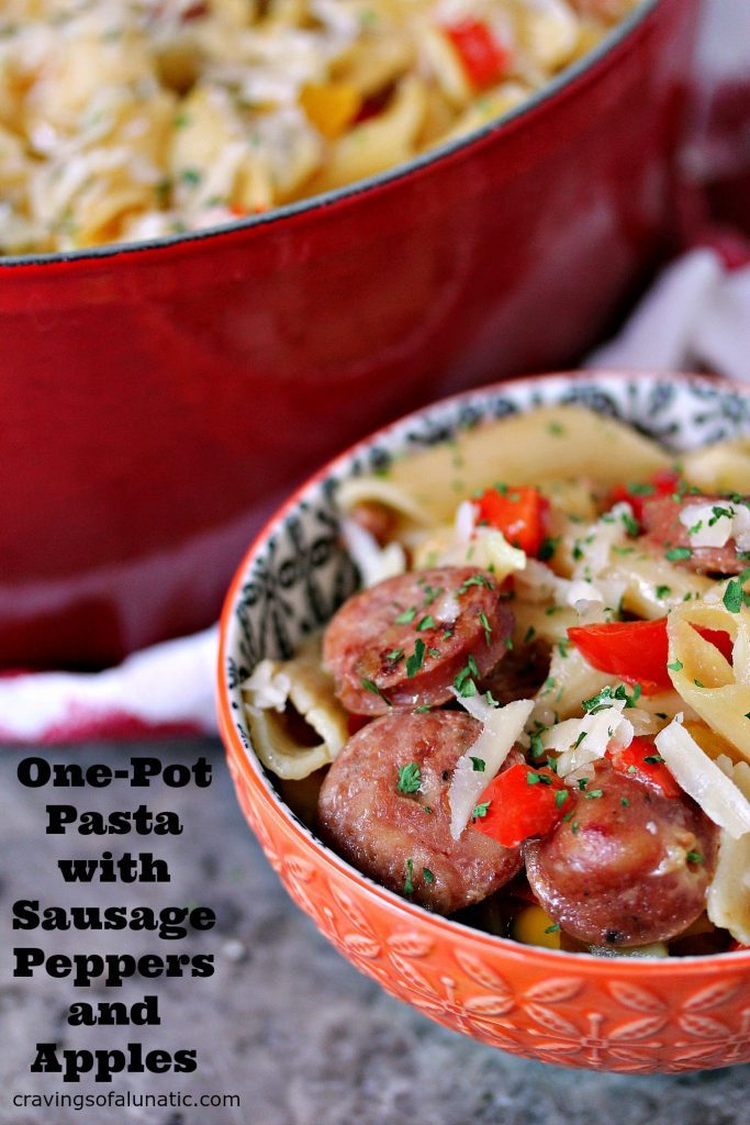 One Pot Pasta with Sausage, Peppers, and Apples; Kim, Cravings of a Lunatic