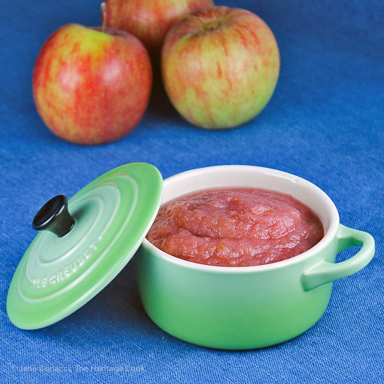 Homemade Pink Applesauce; Jane Bonacci, The Heritage Cook