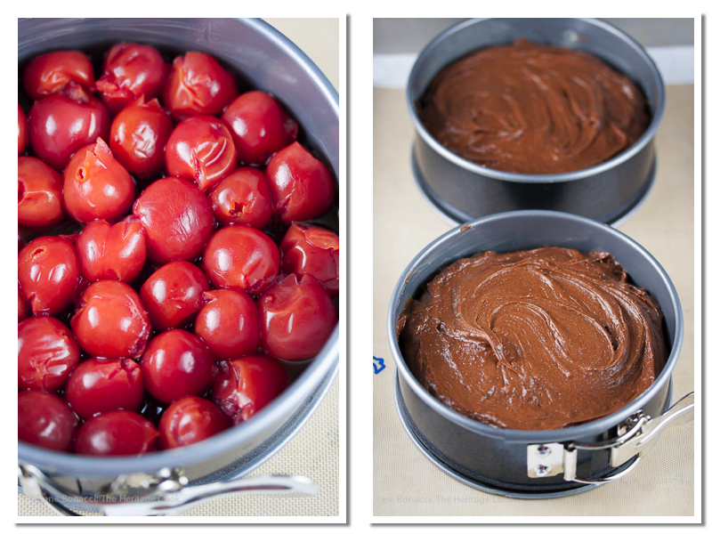 Cherries in the pans & covered with cake batter; Individual Black Forest Upside Cakes, Gluten-Free; 2016 Jane Bonacci, The Heritage Cook