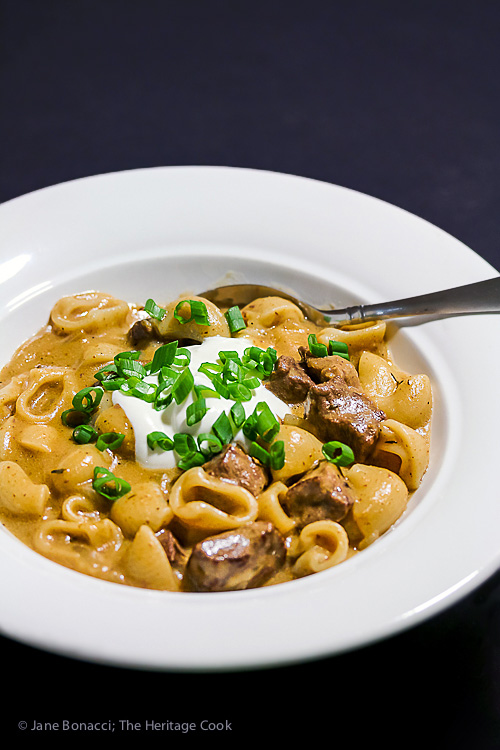 Easy Homemade Gluten Free Beef Stroganoff © 2017 Jane Bonacci, The Heritage Cook