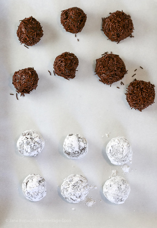 Freshly dipped candies; Brigadeiros - Brazilian Chocolate Candies covered in Jimmies © 2017 Jane Bonacci, The Heritage Cook