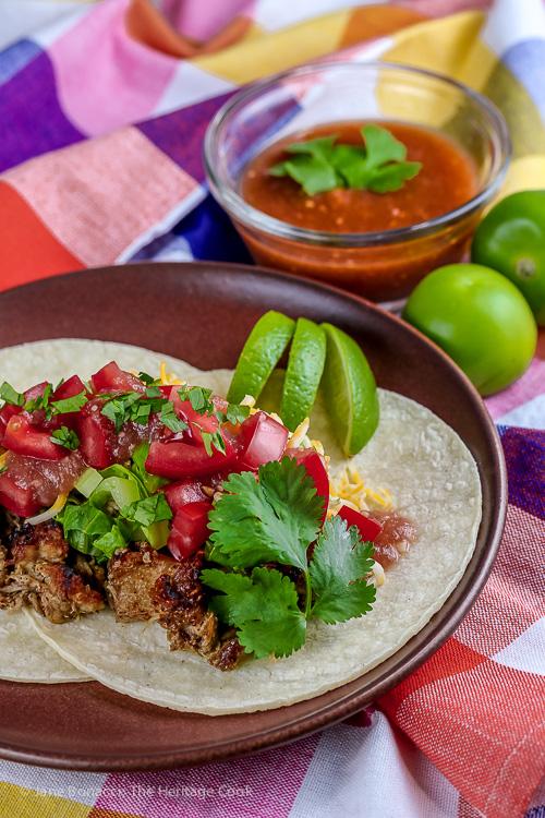 Pork Carnitas with Tomatillo Salsa (Gluten Free) © 2017 Jane Bonacci, The Heritage Cook