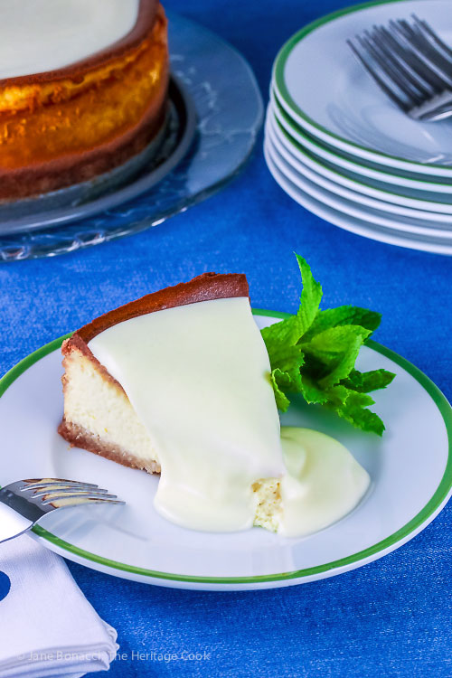 Gluten Free Classic Cheesecake with Almond Crust © 2017 Jane Bonacci, The Heritage Cook