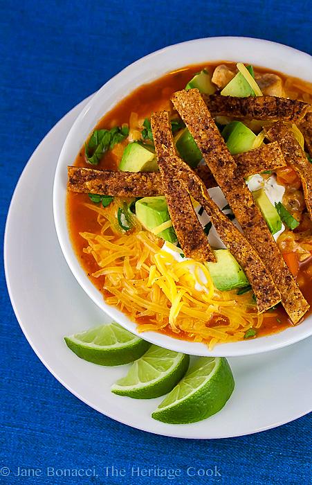 Chile Tortilla Soup; Gluten Free Festive Foods for Cinco de Mayo © 2017 Jane Bonacci, The Heritage Cook
