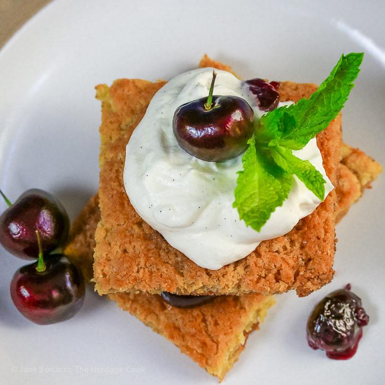 Top down photo of cherry shortcake; Fresh Cherry Shortcakes with White Chocolate Whipped Cream © 2017 Jane Bonacci, The Heritage Cook