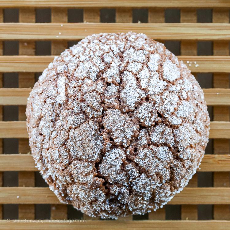 Close up of a single cookie; Dark Chocolate Bourbon Crackle Cookies © 2017 Jane Bonacci, The Heritage Cook