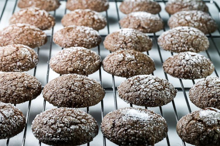 Hot from the oven! Dark Chocolate Bourbon Crackle Cookies © 2017 Jane Bonacci, The Heritage Cook