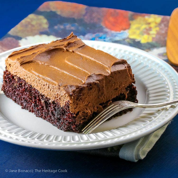 Chocolate Sheet Cake with Chocolate Caramel Frosting © 2017 Jane Bonacci, The Heritage Cook