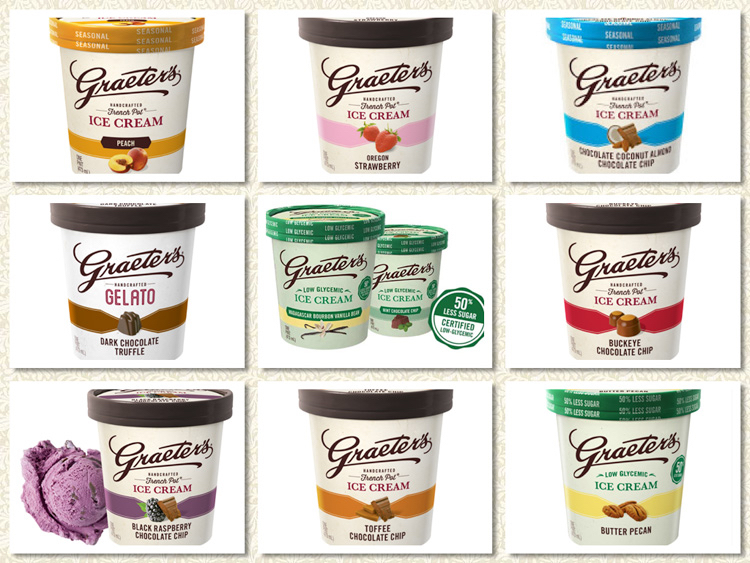 Selection of some of Graeter's flavors; National Ice Cream Month and Graeter's Giveaway; Jane Bonacci, The Heritage Cook