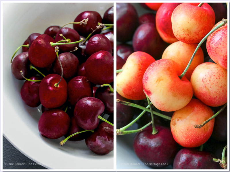 Red and golden cherries from Washington; Fresh Cherry Shortcakes with White Chocolate Whipped Cream © 2017 Jane Bonacci, The Heritage Cook