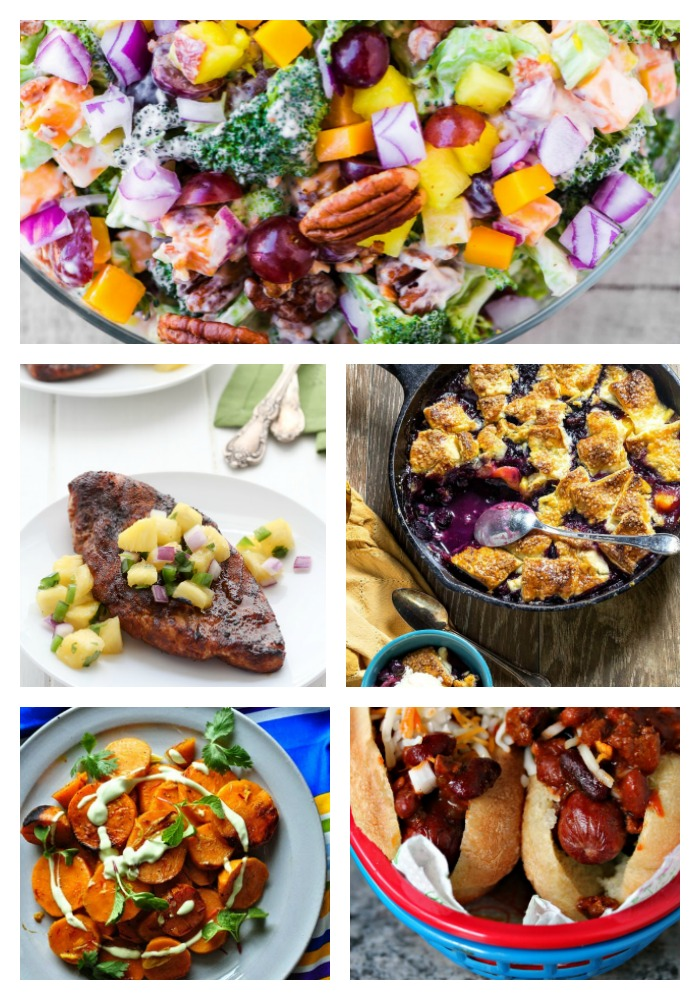 Collage of summer favorite recipes; 40 Top Summertime Favorites part 1; 2017 Jane Bonacci, The Heritage Cook