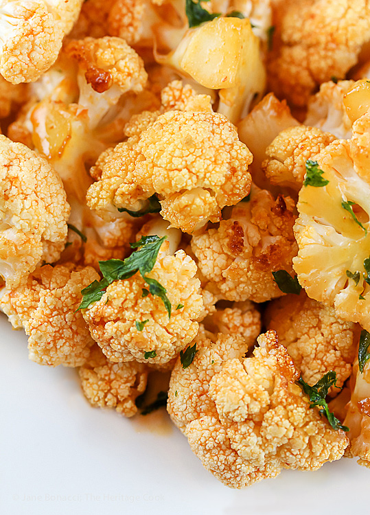 Sweet and Spicy Grilled Buffalo Cauliflower Florets; © 2017 Jane Bonacci, The Heritage Cook