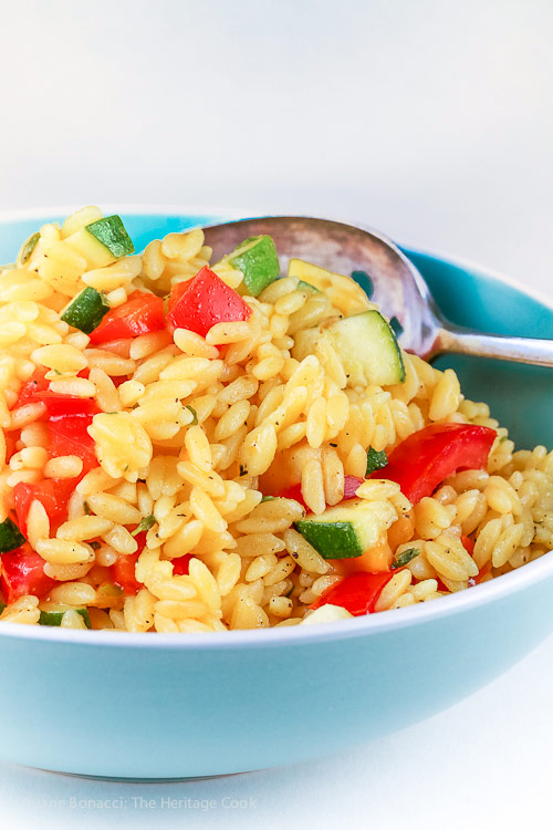 Gluten Free Summer Orzo Pasta Salad © 2017 Jane Bonacci, The Heritage Cook