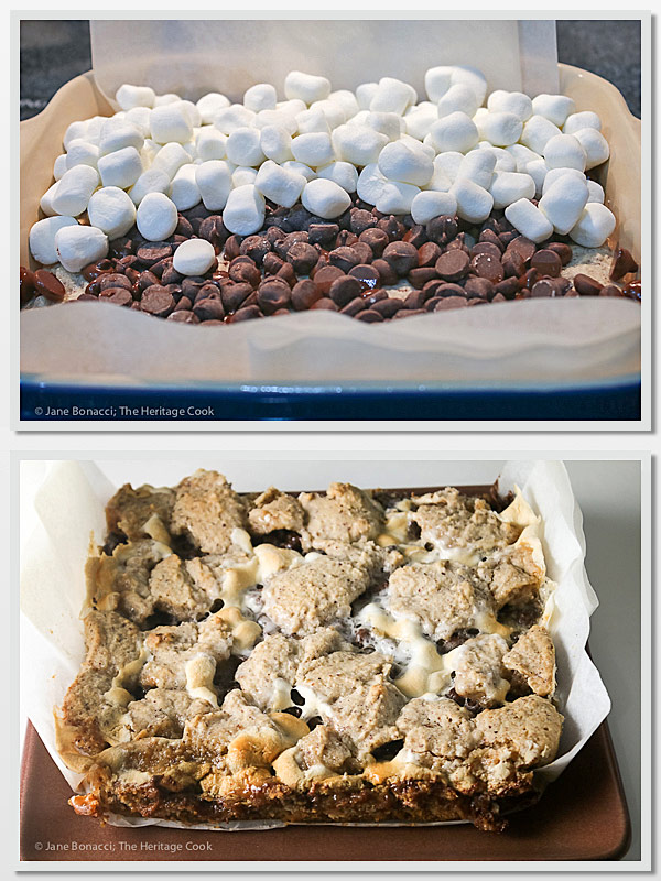 A collage of two images, one showing the layers of chocolate and marshmallows before baking and the other is the pan hot from the oven; S'Mores Bars with Hazelnut Crust, melted chocolate and toasted marshmallows © 2017 Jane Bonacci, The Heritage Cook