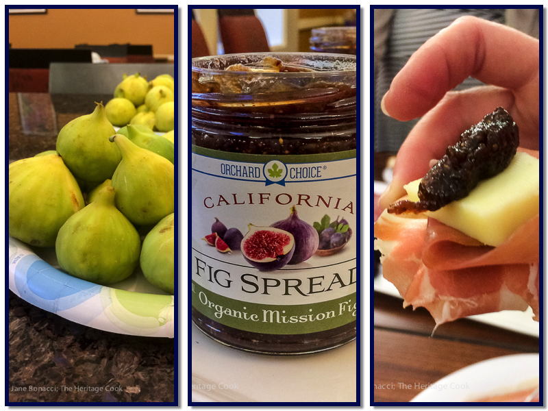 figs, fig spread, appetizer; Roast Chicken with Fig Glaze and Ginger-Fig Compote & the Valley Fig Growers Road Trip © 2017 Jane Bonacci, The Heritage Cook