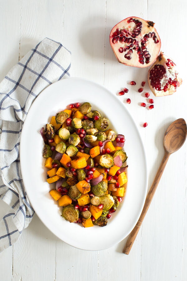 Balsamic Roasted Butternut Squash & Brussels Sprouts; Over 40 of the Best Thanksgiving Side Dishes; Jane Bonacci, The Heritage Cook
