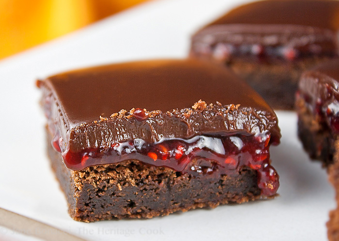 Close up of a Brownie with raspberry jam in the center; Top 21 most popular Chocolate Monday recipes of 2017 © 2017 Jane Bonacci, The Heritage Cook
