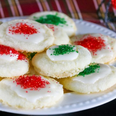 White Chocolate Glazed Shortbread Cookies (Gluten-Free)