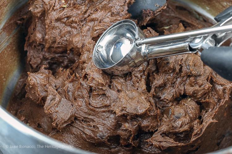 Raw cookie dough and ice cream scoop; Double Chocolate Drop Cookies © 2018 Jane Bonacci, The Heritage Cook