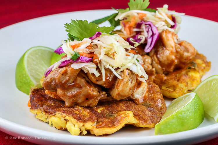 BBQ Chicken Tamale Pancakes © 2018 Jane Bonacci, The Heritage Cook; all rights reserved.