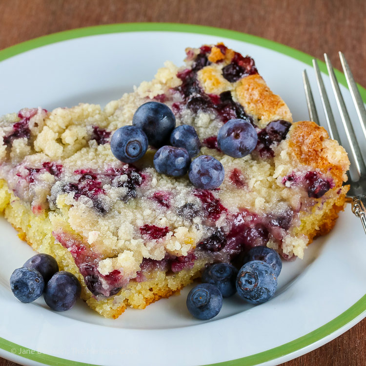 Fresh Blueberry Buckle from the America the Great Cookbook © 2018 Jane Bonacci, The Heritage Cook