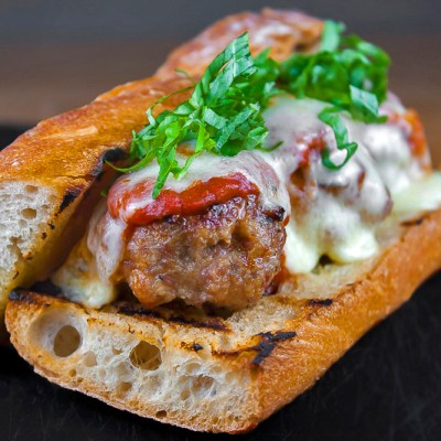 Grilled Meatball Hoagies with Spicy Tomato Sauce (Gluten-Free)