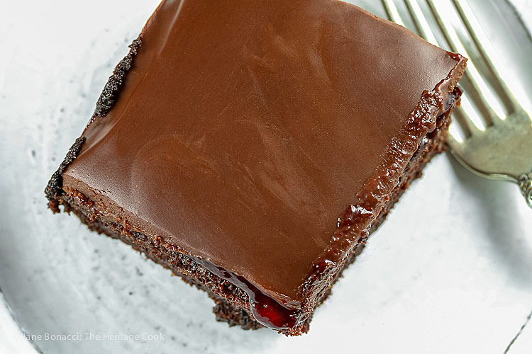 Top down view; Chocolate Raspberry Sheet Cake © 2018 Jane Bonacci, The Heritage Cook. All rights reserved.