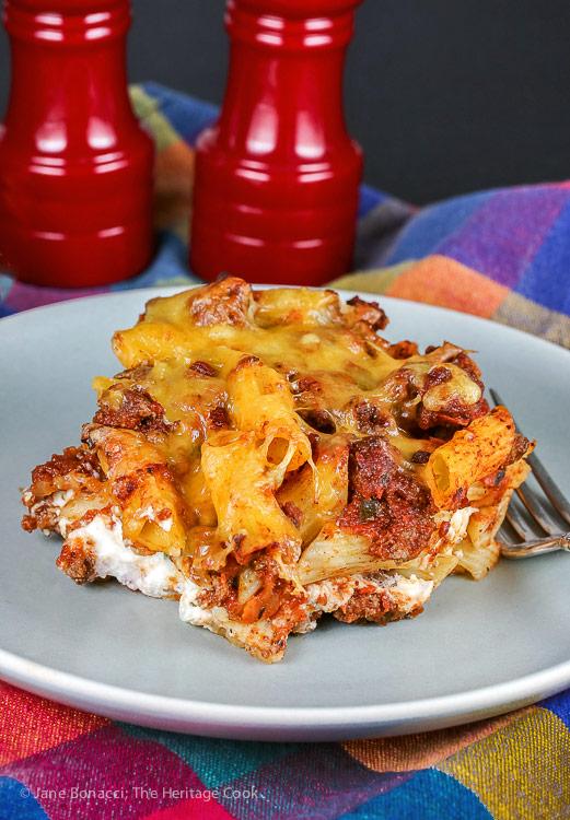 Sloppy Joe Mexican Lasagna © 2018 Jane Bonacci, The Heritage Cook