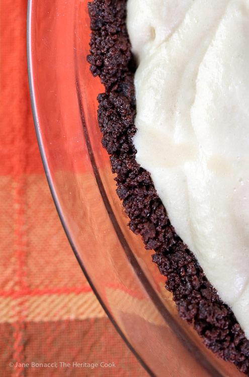 close up of chocolate cookie crust; Kahlua Cream Pie with Chocolate Cookie Crust © 2016 Jane Bonacci, The Heritage Cook
