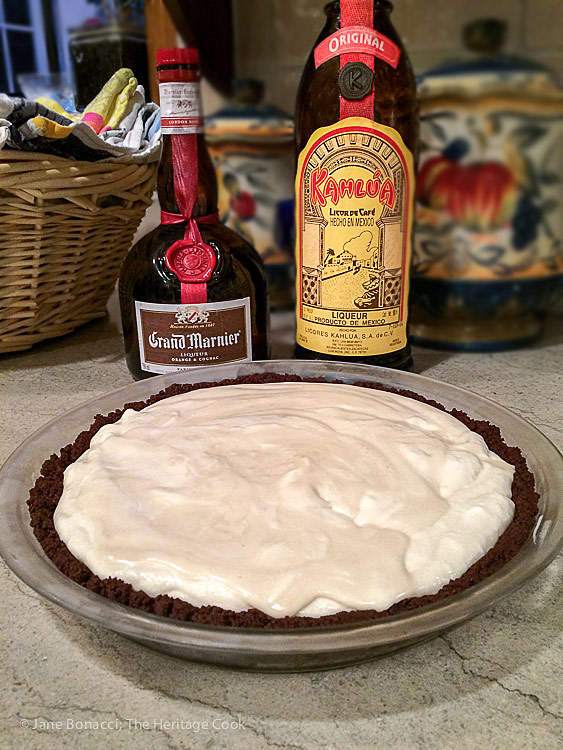Use your choice of flavoring; Kahlua Cream Pie with Chocolate Cookie Crust © 2016 Jane Bonacci, The Heritage Cook