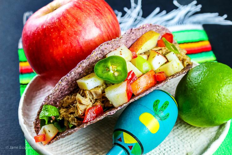 Stemilt Piñata Apple Salsa with Pork Tacos © 2018 Jane Bonacci, The Heritage Cook
