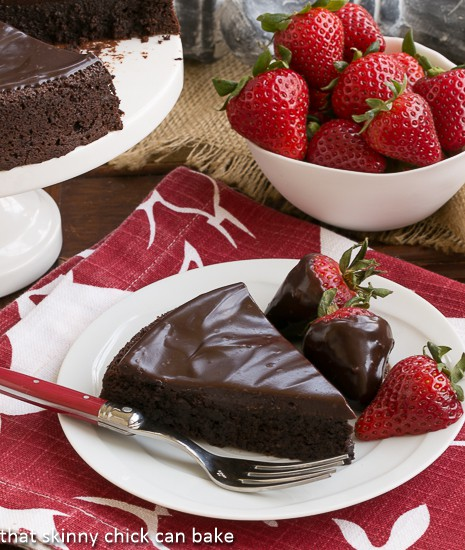 Flourless Double Chocolate Cake vertical photo; 7 Great Chocolate Desserts for Mother's Day 2018 assembled by Jane Bonacci, The Heritage Cook