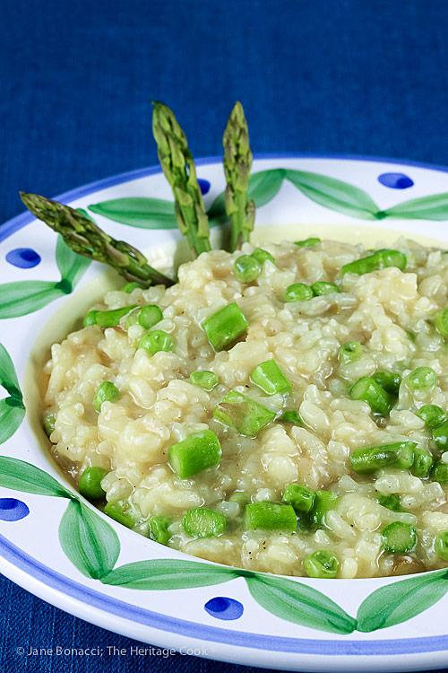 Asparagus and Pea Risotto © 2018 Jane Bonacci, The Heritage Cook