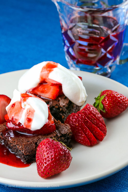 Brownie Strawberry Shortcakes with Strawberry Cassis Syrup © 2018 Jane Bonacci, The Heritage Cook