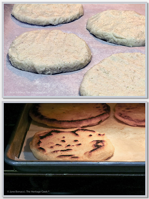 collage of arepa dough and arepas baking in the oven; Instant Pot Chicken Filled Arepas © 2018 Jane Bonacci, The Heritage Cook