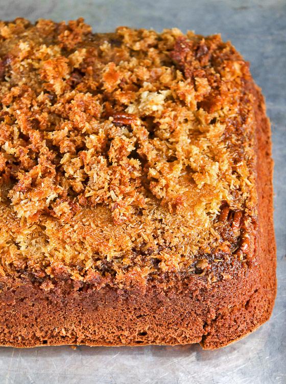 whole cake just inverted; Cockeyed German Chocolate Cake © 2018 Jane Bonacci, The Heritage Cook