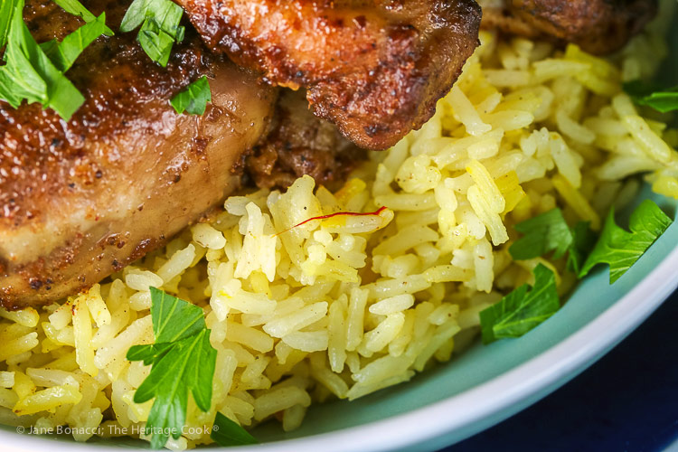 close up of saffron rice; Gluten Free Mediterranean Chicken Dinner © 2018 Jane Bonacci, The Heritage Cook