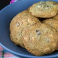 Cookies piled in a bowl; Gluten Free Black and White Chip Pecan Cookies © 2018 Jane Bonacci, The Heritage Cook