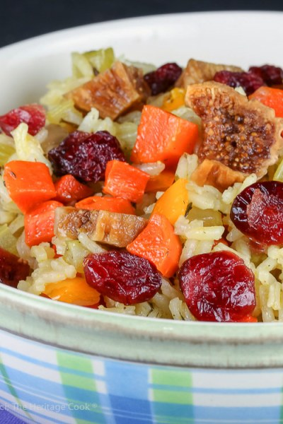 Fig and Cranberry Rice Pilaf (Gluten Free) © 2018 Jane Bonacci, The Heritage Cook