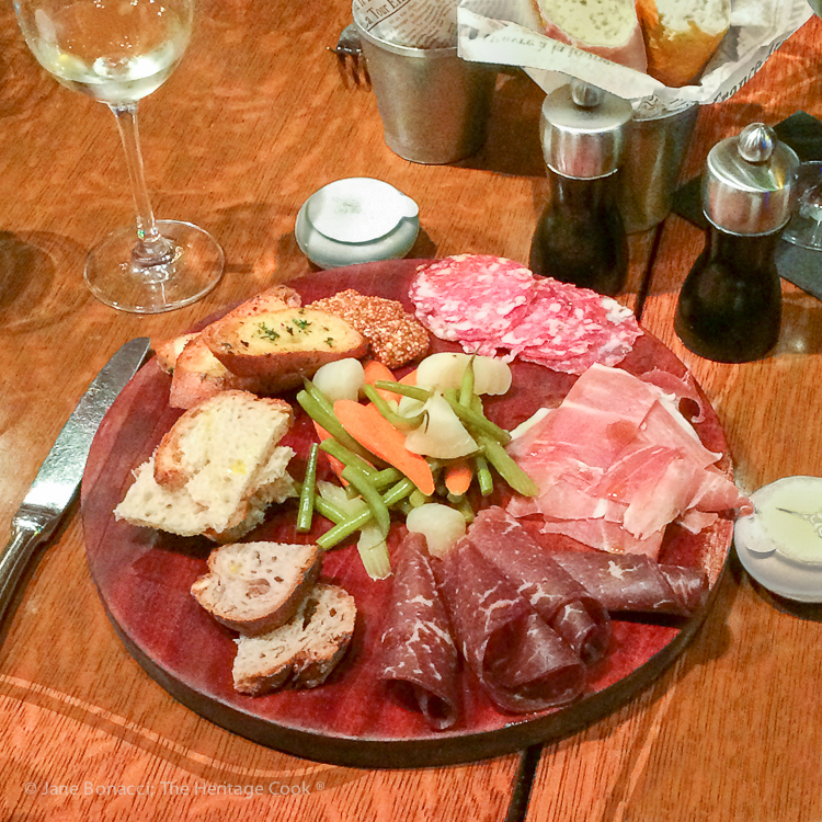 Charcuterie platter; French Cheeses event at Cafe Claude © 2018 Jane Bonacci, The Heritage Cook