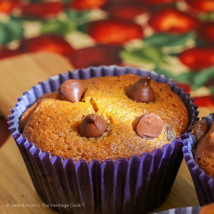 Ray of sunlight across the muffin top; Gluten-Free Chocolate Chip Pumpkin Muffins © 2018 Jane Bonacci, The Heritage Cook