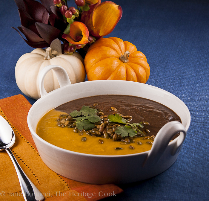 Jack O'Lantern soup, black and orange soups in the same bowl; Instant Pot Spicy Butternut Squash Soup © 2018 Jane Bonacci, The Heritage Cook