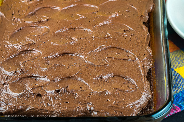 close up of frosting on cake; Kahlua Chocolate Cake and Chocolate Frosting © 2018 Jane Bonacci, The Heritage Cook
