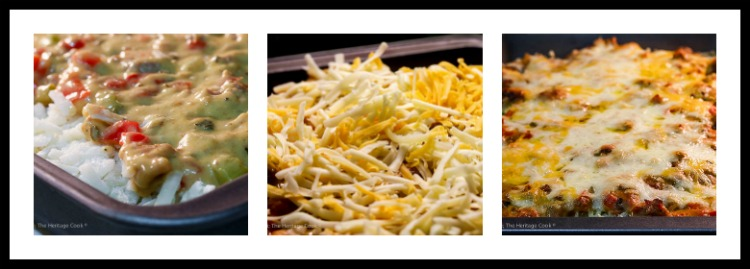 triptych of cooking steps; Cheesy Breakfast Hash Brown Casserole © 2018 Jane Bonacci, The Heritage Cook