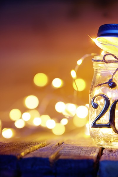 2019 - Christmas String In The Jar With Bokeh; The Top Baker's Dozen Recipes of 2018 collection; Jane Bonacci, The Heritage Cook